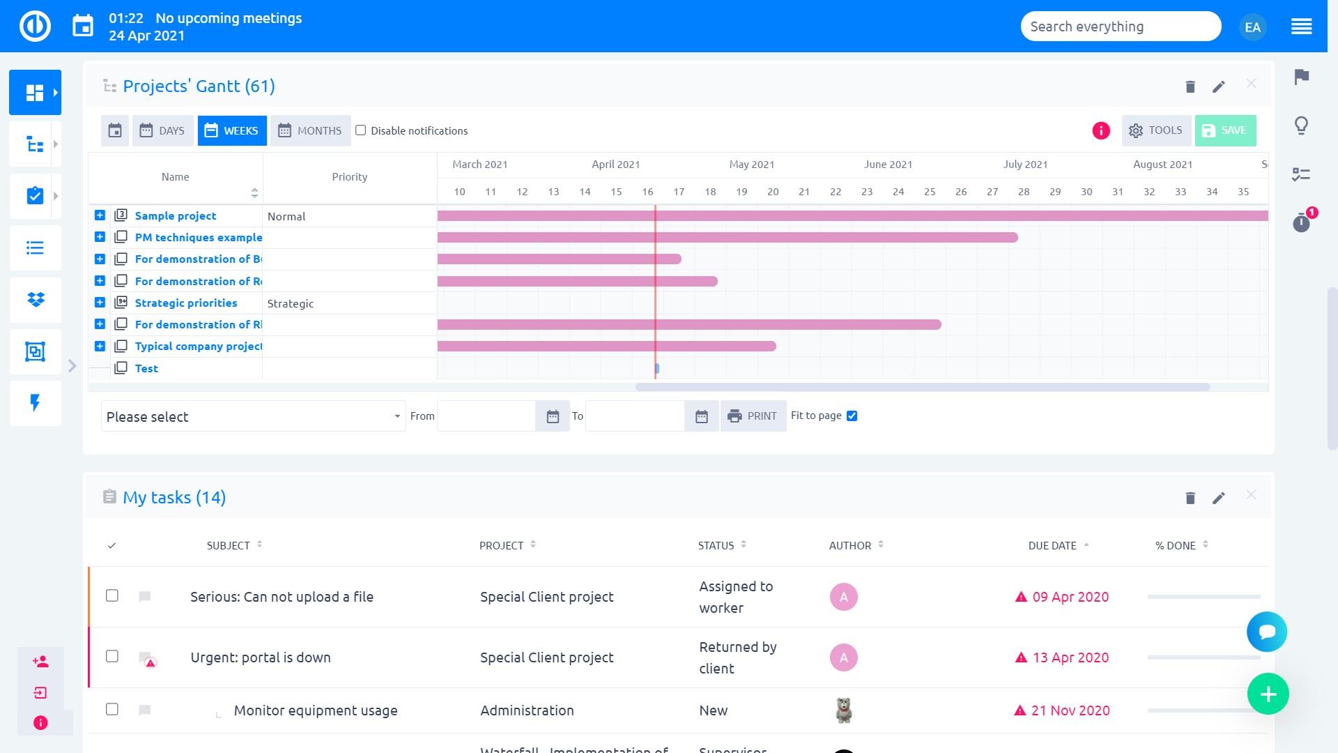 Easy Redmine 2019 - Modal view of tasks